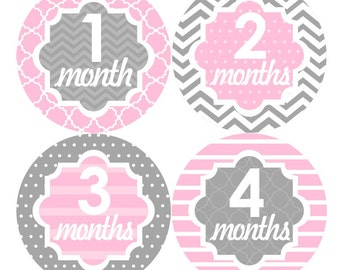 Baby Month Stickers, Monthly Baby Stickers, Baby Girl First Year Stickers, Baby Milestones, Baby Shower Stickers, Chevron Pink Grey 061G