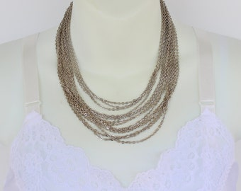 Vintage Silvertone Multi Fifteen Strand Cable Curb Chain Graduated En Esclavage Matinee Length Silver Tone Necklace