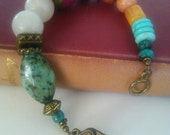 Brass and Gemstone Bracelet in Pink Turquoise and Oranges
