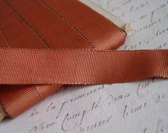 Very old beautiful unique French ANTIQUE caramel with soft golden METALLIC ribbon, 1 yard with more available