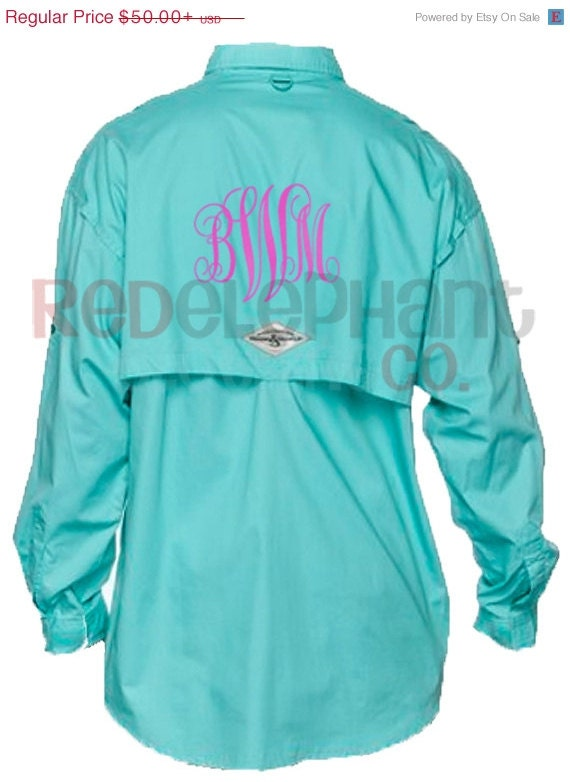Monogram fishing shirt columbia pfg personalized bridesmaids for Fishing shirts for women