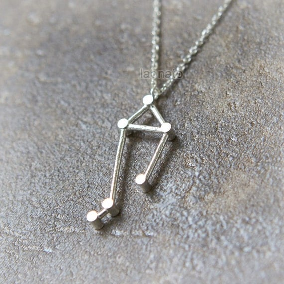 Libra Zodiac Sign Necklace / silver plated brass or by laonato
