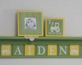 "Tractor Nursery Decor Artwork 30"" Green Shelf 7 Yellow Green Letter Plaques Personalized AIDEN Farm Tractor Art Baby Boy Nursery Shower Gift"