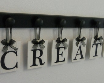 CREATE Personalized Hanging Letter Sign Set Includes Peg Board Painted - Black Room Decor / Wall Decor