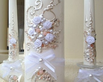 Beautiful wedding unity candle set in white and blush pink with a silver crystals, perfect for your unity ceremony
