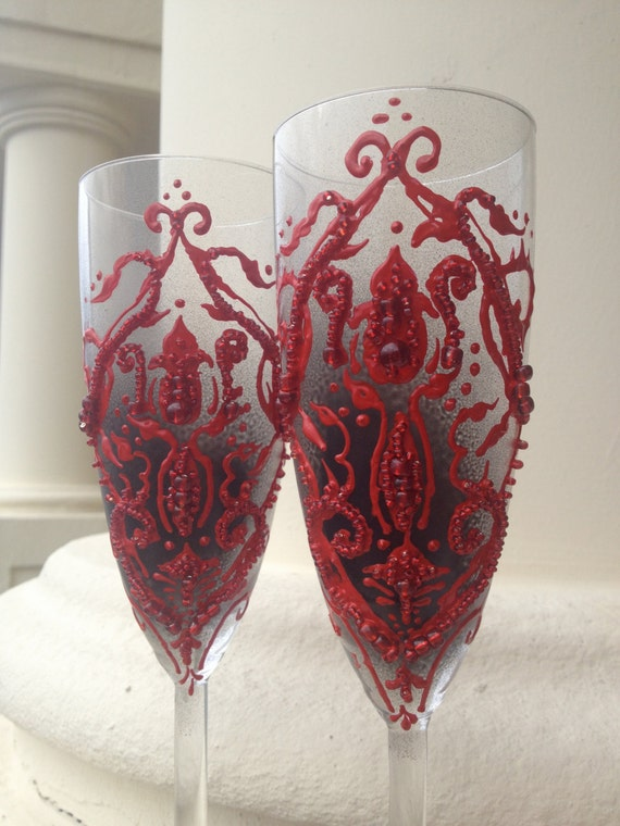 Wedding Champagne Glasses Toasting Flutes With A Dark Red
