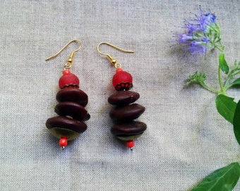 TAKIN African red recycled glass ntama coumba seeds earrings by Fianaturals
