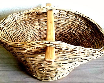 Hand Woven Picnic Basket, Storage Basket, Shopping Basket, Newspapers Basket, Wicker Basket, Kitchen Basket, Home Decor,Eco Gift, Natural