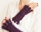 Hand-Knitted Wrist Warmers in Eggplant Purple Silk Mohair, Deep Purple Handmade Lace Arm Warmers