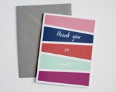 Thank You Card - Geometric Thank You Card - Thank You So Much - Coral, Mint, Purple, Orange