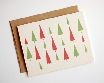 Christmas Card Set of 8 Simple Christmas Cards - Christmas Trees Cards - Christmas Card Set - Eco Friendly Cards - Red and Green