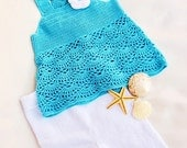 Sale - Crochet baby set, crochet baby top,  knitted baby  shorts,  blue and white  baby set, summer baby set,   READY TO SHIP