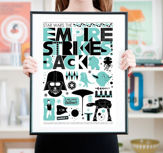 Star Wars Empire Strikes Back Movie Poster, Minimalist movie poster A3
