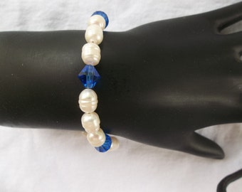 White Pearls and Blue Celestial Crystals Bracelet