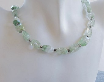 Shades of Green Choker Necklace with Flourite Nuggets with Sterling Silver