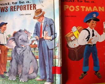 SALE Vtg 60s Children's Book I want to be a POSTMAN Letter Carrier I want to be a NEWS Reporter 2 Books in One Vintage Career Great Graphics