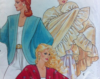 Vintage Pattern Sewing Butterick 1980s No. 4658 Size SMALL Cover Ups and Scarfs Three Styles Classic Hip Cover Up Vintage 80s Ruffled Scarf
