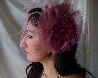 Pink Fascinator - Jeweled Fascinator -  Feathered Fascinator - Bird Cage Veil - Bridal Hair Piece