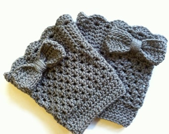 Grey Bow Boot Cuffs Boot socks leg warmers with a lacey finish for women in any desired color and size