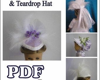 1800's Tear Drop Hat and Poke Bonnet PDF Pattern for American Girl Dolls - Instant Download