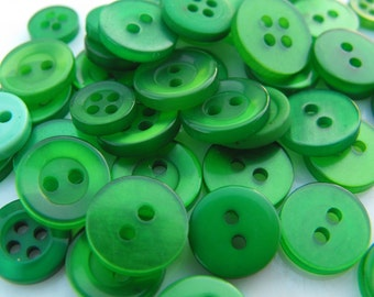 Green Buttons, 50 Small Assorted Round Sewing Crafting Bulk Buttons