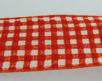 Red and White Checkered Wire Edge Ribbon 2 Yards