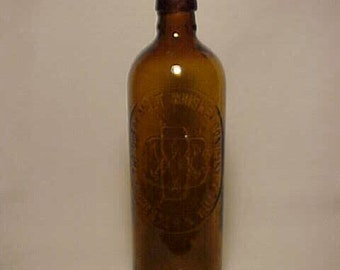c1880s The Duffy Malt Whiskey Company Rochester, N.Y., Cork Top Amber Glass Whiskey Bottle No. 5