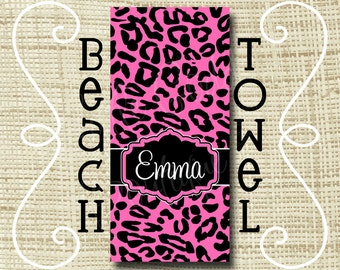 Monogram Beach Towel - Personalized Beach Towel - Ultra Soft Poly/Cotton - Cheetah Leopard Hot Pink Black or ANY Color(s)