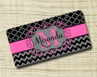 Monogram License Plate, License Plate Frame, Personalized License Plate, Chevron Quatrefoil Black Gray Hot Pink or ANY Color(s)