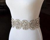 Bridal Sash Belt Wedding Dress Sash Belt Rhinestone and Pearl Wedding Sash Belt Rhinestone Sash Belt Ivory Ribbon SA008LX