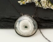 Solar Quartz Druzy Necklace - Agate Geode Slice - Oxidized Silver necklace - Gunmetal Necklace - Bezel Set Necklace