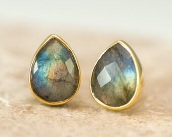 Labradorite Studs Stud Earrings - Gemstone Studs - Tear Drop Studs - Gold Stud Earrings - Post Earrings