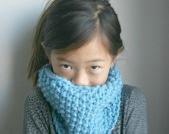Children's Neck Warmer, Knit Cowl // Sky Blue // THE KIDDIE COWL