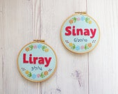 Personalized kids wall art Nursery décor Baby name Embroidered keepsake Childrens room decoration Made to order