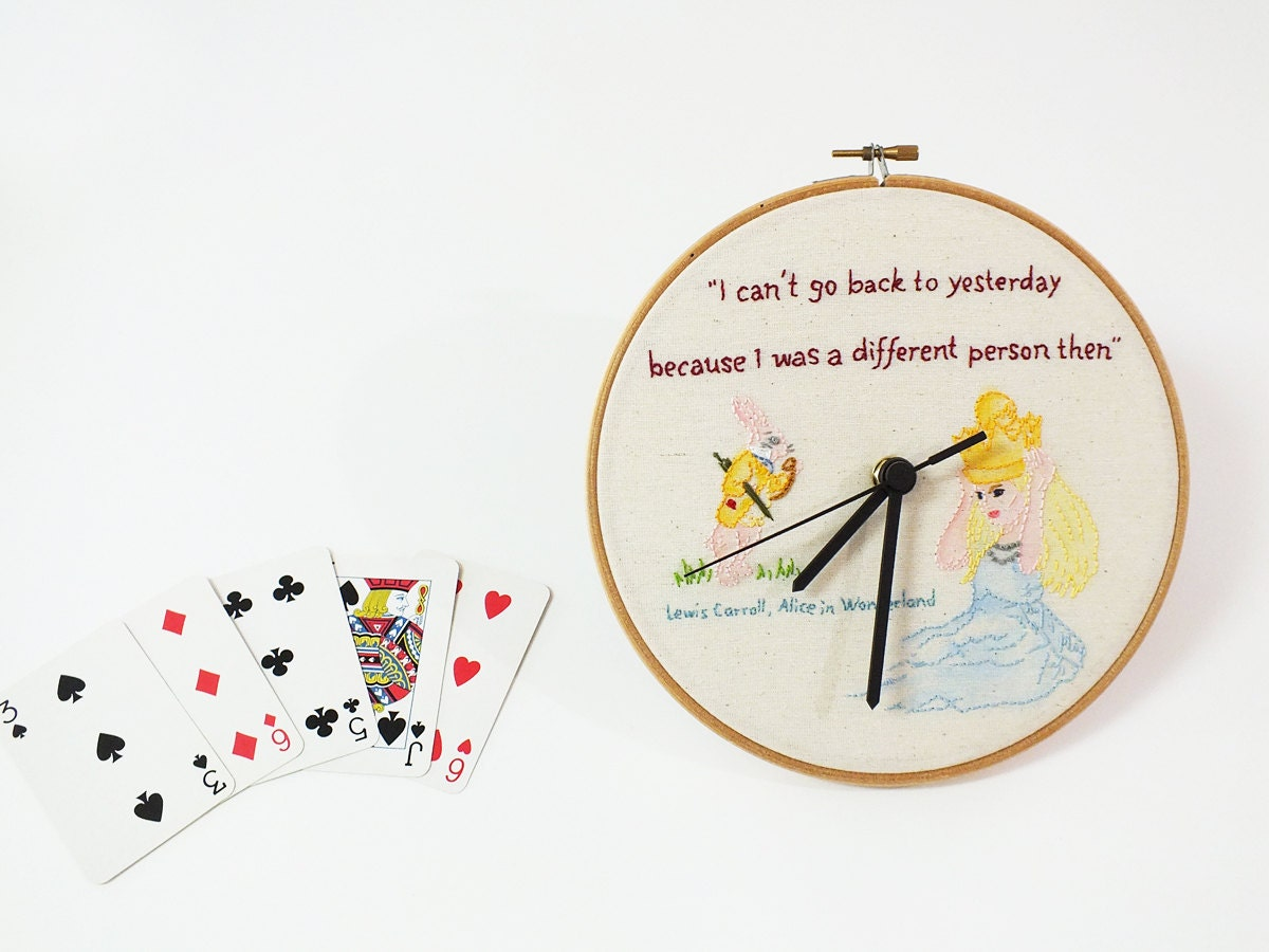 Kids wall clock alice in wonderland embroidery hoop
