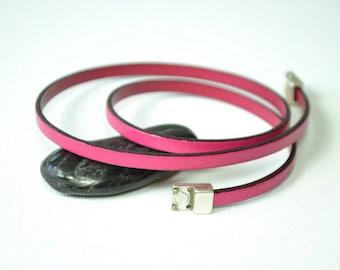 Hot Pink Leather Bracelet, Multi Wrap Bracelet, Gift For Teens, Cottage Chic Bracelet