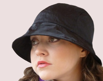 Lucky Bonnet Rain Hat in Crushed Black Waterproof Satin with Elastic Back, Wide Brim Trendy Cloche, Packable, Soft and Stretchy