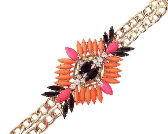 Statement Bracelet Coral & Black Multi Colored Layered Rhinestones Double Chain New York Chic High Fashion Spring Summer 2016 Fashion