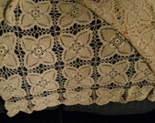 Beautiful Crocheted Ecru Table Cloth in a Modified Pineapple Pattern