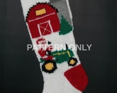 Printed Pattern Only Hand Knitted Santa on a Tractor Christmas Stocking