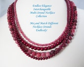 Burgundy Glass Pearls for Interchangeable Multi Strand Necklace  Choose Size cranberry multi strand cranberry glass pearl multi wear