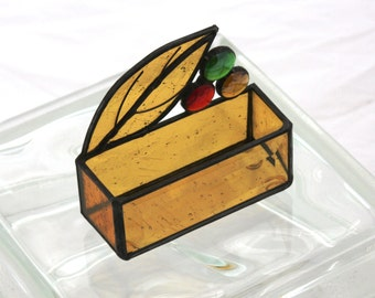 Autumn Fall Colors Leaf with Jewels Stained Glass Business Card Holder