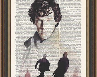 Sherlock Holmes BBC TV Series illustration printed on a vintage dictionary page.Benedict Cumberbatch Poster, Doctor Watson Print, Housewares