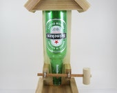 Handmade Wooden Natural Western Red Cedar Beer Bottle Bird Feeder - Perfect Gift for the Bird Lover Mom Dad Grandpa Grandma - Heineken