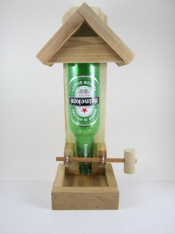 Beer Bottle Bird Feeder Heineken by AllyBoosCreations on Etsy