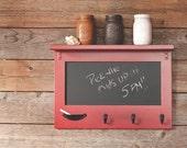 Small Farmhouse Cottage Chalkboard with Shelf and Keyhooks - Entryway Shelf