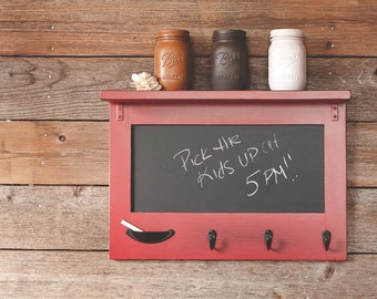 Small Farmhouse Cottage Chalkboard with Shelf and Keyhooks - Entryway Shelf