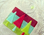 Blue, Red, Green, Handmade ornament, Fused Glass Ornament, Christmas Ornament, Glass Art, Winter, Trees, Sun Catcher, Nature, Ooak ornament