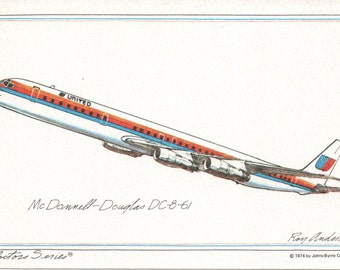 United Airlines Collector Series Roy Anderson DC-8-61 Postcard