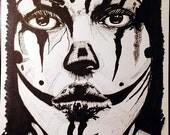Sad Clown Drawing - Lady Clown Mask - Ink Drawing  INKtober Drawing #27